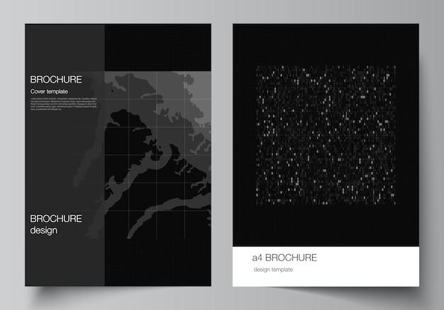 パンフレットチラシレイアウト小冊子カバーデザインブックデザインのカバーモックアップテンプレートのベクトルレイアウト...