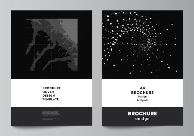 パンフレットチラシレイアウト小冊子カバーデザインブックデザイン抽象技術ブラックカラーサイエンス背景デジタルデータミニマリストハイテクのカバーモックアップテンプレートのベクトルレイアウト