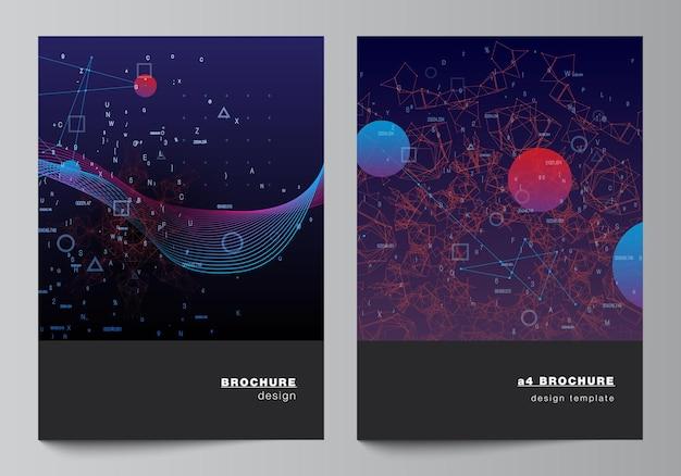 パンフレットチラシレイアウト小冊子カバーデザインブックデザイン人工知能ビッグデータ視覚化量子コンピューター技術コンセプトのカバーモックアップテンプレートのベクトルレイアウト