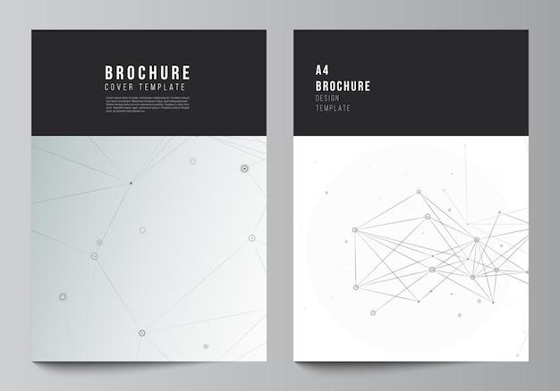 パンフレットチラシレイアウト小冊子カバーデザインブックデザインパンフレットカバー灰色の技術背景と接続線とドットネットワークの概念のためのカバーモックアップテンプレートのベクトルレイアウト