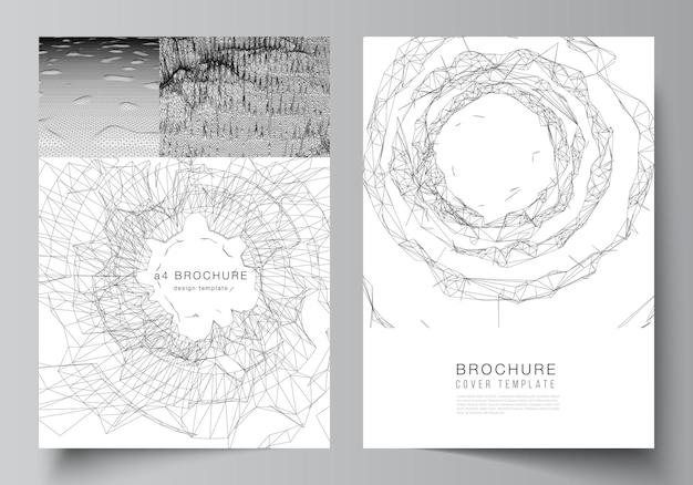 パンフレットチラシレイアウト小冊子カバーデザインブックデザインカバーのカバーモックアップテンプレートのベクトルレイアウト未来的な最小限の技術コンセプトデザインの抽象的なdデジタル背景