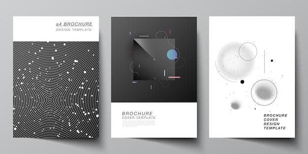 パンフレットチラシレイアウト小冊子カバーデザインブックデザインパンフレットカバー技術科学未来の背景宇宙天文学の概念のためのフォーマットカバーモックアップデザインテンプレートのベクトルレイアウト
