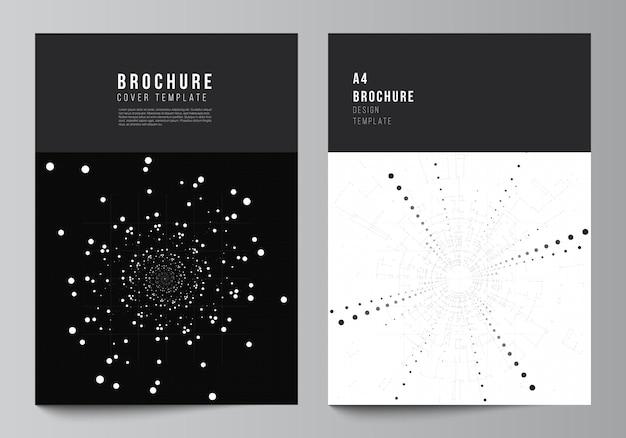 パンフレット、チラシのレイアウト、小冊子、カバーデザイン、ブックデザインのa4カバーデザインテンプレートのベクトルレイアウト。黒い色の技術の背景。科学、医学、技術概念のデジタル視覚化。