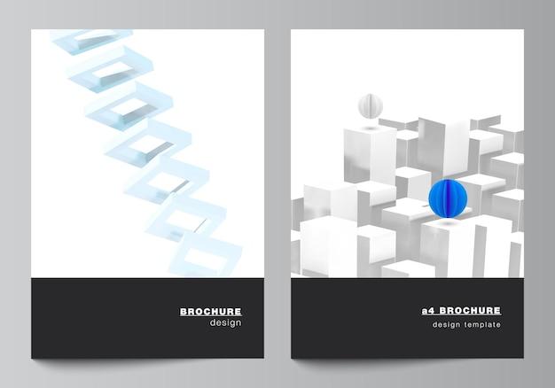 パンフレット、チラシレイアウト、小冊子、表紙デザイン、ブックデザインのa4カバーモックアップテンプレートのベクトルレイアウト。動きのあるダイナミックでリアルな幾何学的な青い形状の3dレンダリングベクトル構成。