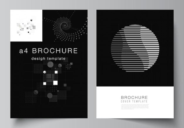 パンフレット、チラシレイアウト、小冊子、表紙デザイン、ブックデザインのa4カバーモックアップテンプレートのベクトルレイアウト。抽象技術ブラックカラー科学の背景。デジタルデータ。ミニマリストのハイテク。