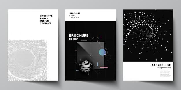 브로셔, 전단지 레이아웃, 소책자, 표지 디자인, 책 디자인을 위한 a4 표지 모형 템플릿의 벡터 레이아웃입니다. 추상적인 기술 검은 색 과학 배경입니다. 디지털 데이터. 미니멀리스트 하이테크.