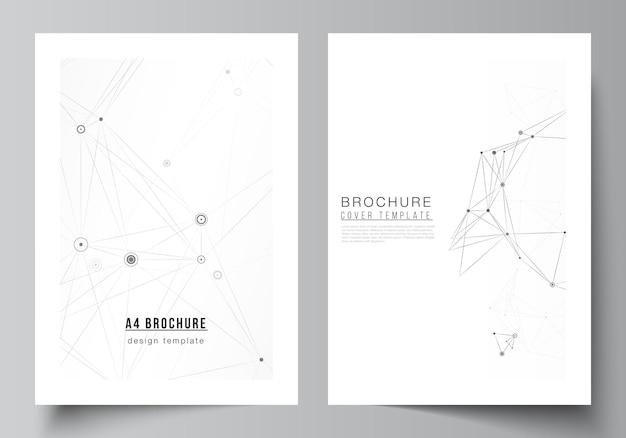 パンフレット、チラシレイアウト、小冊子、カバーデザイン、ブックデザイン、パンフレットカバーのa4カバーモックアップテンプレートのベクトルレイアウト。線と点を接続する灰色の技術の背景。ネットワークの概念。