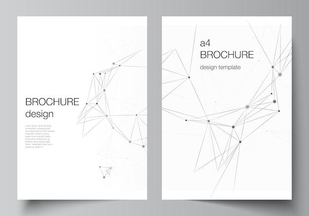 브로셔, 전단지 레이아웃, 소책자, 표지 디자인, 책 디자인, 브로셔 표지에 대한 a4 표지 모형 템플릿의 벡터 레이아웃입니다. 선과 점을 연결하는 회색 기술 배경입니다. 네트워크 개념입니다.