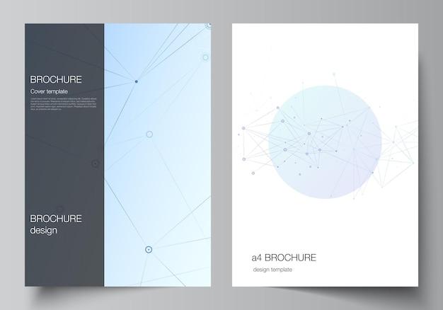 パンフレット、チラシレイアウト、小冊子、カバーデザイン、ブックデザイン、パンフレットカバーのa4形式のカバーモックアップテンプレートのベクトルレイアウト。線と点、神経叢を接続する青い医学的背景