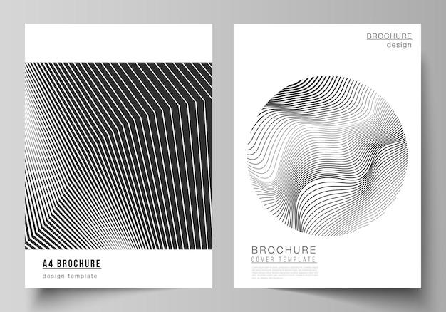 브로셔, 전단지, 소책자, 보고서에 대한 a4 형식의 현대적인 표지 모형 디자인 템플릿의 벡터 레이아웃입니다. 기하학적 추상 배경, 최소한의 디자인을 위한 미래 과학 및 기술 개념.