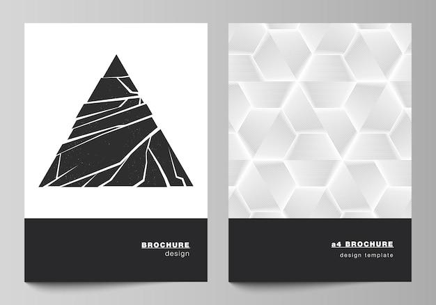 브로셔, 잡지, 전단지, 소책자, 보고서에 대한 a4 형식의 현대적인 표지 모형 디자인 템플릿의 벡터 레이아웃입니다. 다른 삼각형 스타일 패턴을 사용하여 추상적인 기하학적 삼각형 디자인 배경