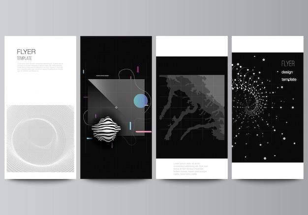 Векторный макет флаера, баннеров, шаблонов для веб-сайта, рекламного дизайна, вертикального дизайна флаера, абстрактных технологий, черного цвета, фона науки, визуализации цифровых данных, концепции высоких технологий