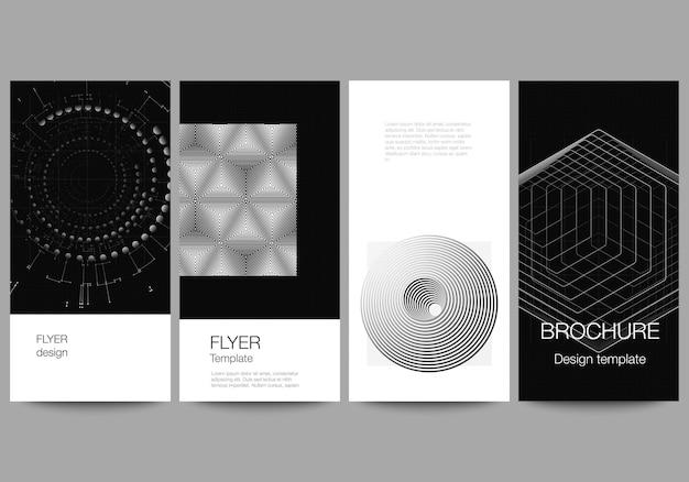 전단지의 벡터 레이아웃, 웹사이트 디자인, 수직 전단지 디자인, 웹사이트 장식을 위한 배너 디자인 템플릿입니다. 블랙 컬러 기술 배경입니다. 과학, 의학, 기술 개념의 디지털 시각화