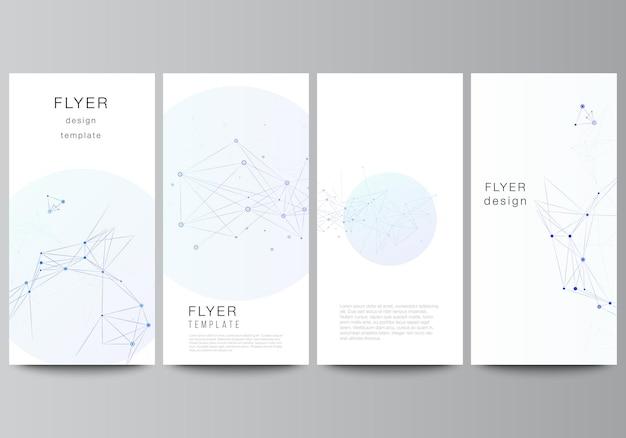 Векторный макет флаера, шаблоны баннеров для рекламного дизайна веб-сайта, вертикальный дизайн флаера, фоны украшения веб-сайта. синий медицинский фон с соединительными линиями и точками, сплетением.