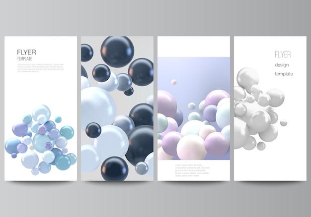 전단지의 벡터 레이아웃, 웹사이트 광고 디자인을 위한 배너 템플릿, 수직 전단지 디자인, 웹사이트 장식 배경. 여러 가지 빛깔의 3d 구체, 거품, 공이 있는 현실적인 벡터 배경