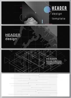 헤더의 벡터 레이아웃, 웹사이트 바닥글 디자인을 위한 배너 디자인 템플릿, 가로 전단지 디자인. 추상적인 기술 검은 색 과학 배경입니다. 디지털 데이터 시각화. 하이테크 개념입니다.