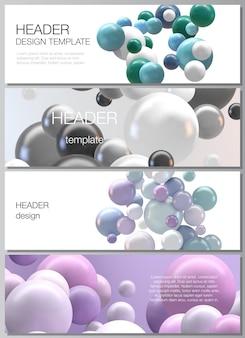 Векторный макет заголовков, шаблоны дизайна баннеров для нижнего колонтитула веб-сайта, горизонтальный дизайн флаера, заголовок веб-сайта, абстрактный футуристический фон с красочными сферами d, глянцевые шарики с пузырьками