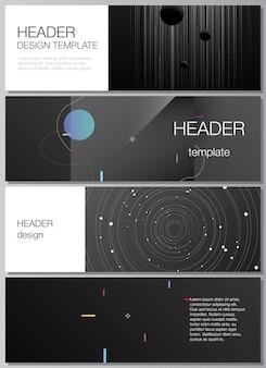 웹사이트 바닥글 디자인 수평 전단지 웹사이트에 대한 헤더 배너 디자인 템플릿의 벡터 레이아웃 ...
