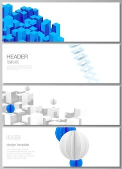 헤더의 벡터 레이아웃, 웹사이트 바닥글 디자인을 위한 배너 템플릿, 가로 전단지 디자인, 웹사이트 헤더 배경. 동적 기하학적 파란색 모양이 움직이는 3d 렌더링 벡터 구성.