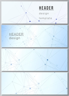 웹 사이트 바닥글 디자인 수평 전단지 디자인 웹 사이트 헤더 배경 연결 선과 점 신경총이 있는 파란색 의료 배경을 위한 헤더 배너 템플릿의 벡터 레이아웃