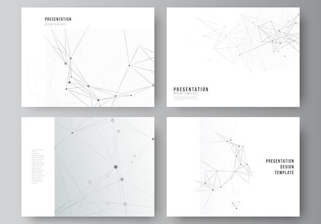 Векторный макет презентации слайдов дизайн бизнес-шаблоны шаблон для презентации брошюры брошюра обложка отчета серый технологический фон с соединительными линиями и точками концепции сети