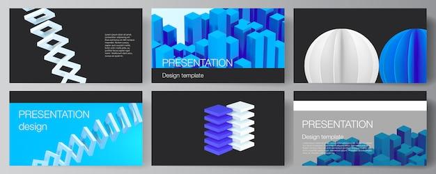 プレゼンテーションスライドのデザインテンプレート、プレゼンテーションパンフレットのテンプレートのベクトルレイアウト。動的な幾何学的な青い形状の3 dレンダリングベクトル構成