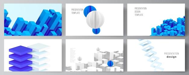Векторный макет шаблонов дизайна слайдов презентации, шаблон для презентации брошюры