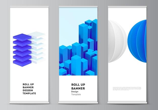 수직 전단지, 플래그 디자인 템플릿, 배너 스탠드, 광고를 위한 롤업 모형 디자인 템플릿의 벡터 레이아웃입니다. 동적 사실적인 기하학적 파란색 모양이 있는 3d 렌더링 벡터 구성.