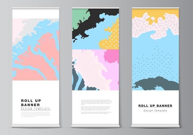 수직 전단지 플래그 디자인 템플릿 배너 스탠드에 대한 롤업 모형 디자인 템플릿의 벡터 레이아웃은 아시아 스타일의 일본 패턴 템플릿 풍경 배경 장식을 광고합니다.