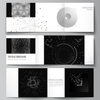 Векторный макет квадратных обложек, шаблоны дизайна для тройной брошюры, дизайн обложки флаера, дизайн книги, черный цвет, технологический фон, цифровая визуализация, концепция науки, медицины, технологии.