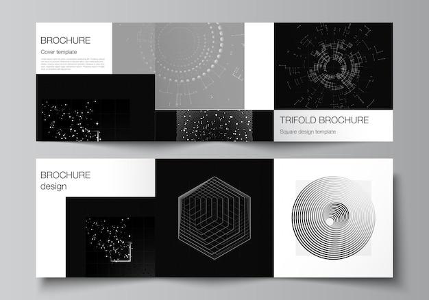 정사각형의 벡터 레이아웃은 삼중 브로셔 전단지 표지 디자인 책 디자인을 위한 디자인 템플릿을 다룹니다. 과학 의학 기술 개념의 블랙 컬러 기술 배경 디지털 시각화