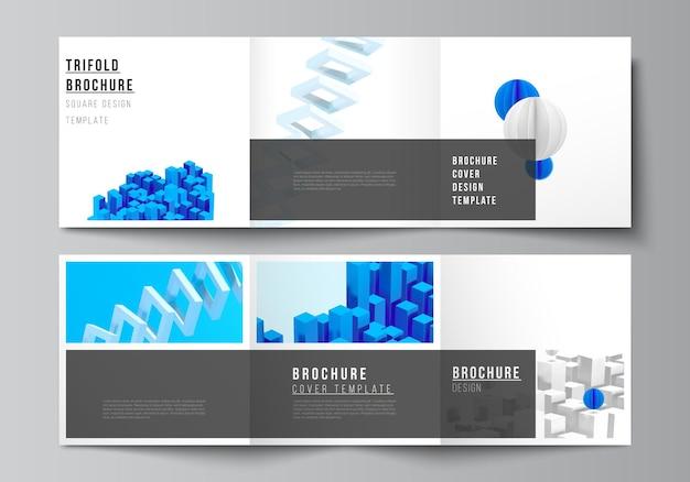 정사각형의 벡터 레이아웃은 삼중 브로셔 전단지 잡지 표지 디자인 책 디자인을 위한 디자인 템플릿을 커버하고 동적 사실적인 기하학적 파란색 모양이 움직이는 벡터 구성을 렌더링합니다.