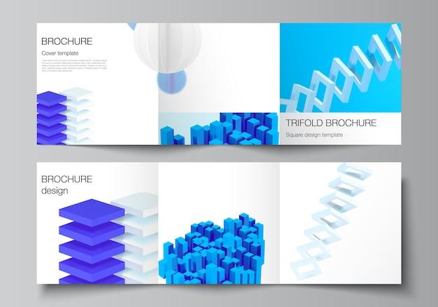 正方形のベクトルレイアウトは、3つ折りパンフレットのデザインテンプレートをカバーしています