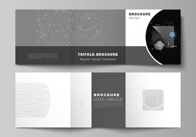 정사각형의 벡터 레이아웃은 삼중 브로셔, 전단지, 잡지, 표지 디자인, 책 디자인을 위한 템플릿을 다룹니다. 추상 기술 검은 색 과학 배경입니다.디지털 데이터입니다. 미니멀리스트 하이테크 컨셉