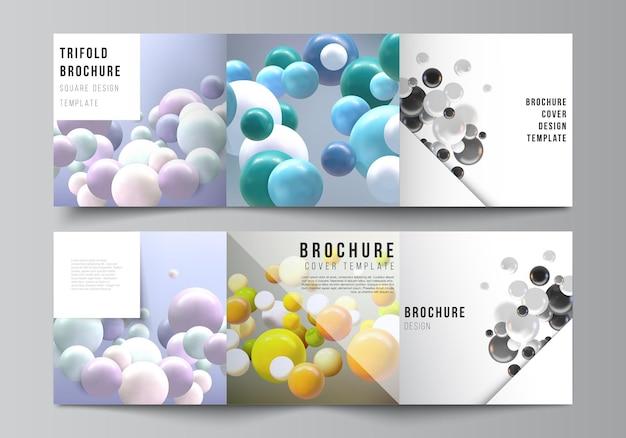 정사각형 형식의 벡터 레이아웃은 삼중 브로셔, 전단지, 잡지, 표지 디자인, 책 디자인을 위한 템플릿을 다룹니다. 여러 가지 빛깔의 3d 구체, 거품, 공이 있는 추상 현실적인 벡터 배경.
