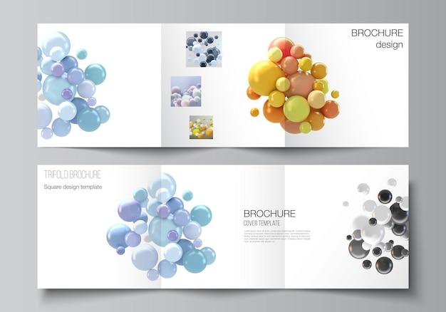정사각형 형식의 벡터 레이아웃은 삼중 브로셔, 전단지, 잡지, 표지 디자인, 책 디자인을 위한 템플릿을 다룹니다. 여러 가지 빛깔의 3d 구체, 거품, 공이 있는 추상적인 사실적인 벡터 배경.