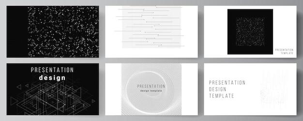 Векторный макет презентации слайдов дизайн бизнес-шаблоны, шаблон для презентации брошюры, обложка брошюры, отчет. абстрактная технология черный цвет фона науки. концепция высоких технологий.
