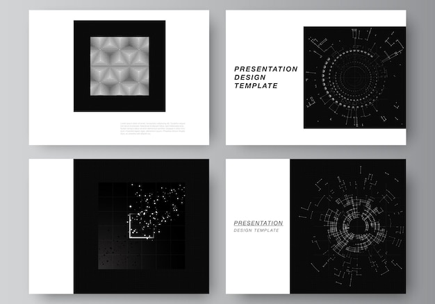 Векторный макет презентации слайдов шаблоны дизайна для презентации брошюры обложка брошюры черный цвет технологический фон цифровая визуализация концепции науки и медицины