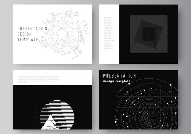 프레 젠 테이 션 브로셔, 브로셔 표지에 대 한 프레젠테이션 슬라이드 디자인 서식 파일의 벡터 레이아웃입니다. 블랙 컬러 기술 배경입니다. 과학, 의학, 기술 개념의 디지털 시각화.