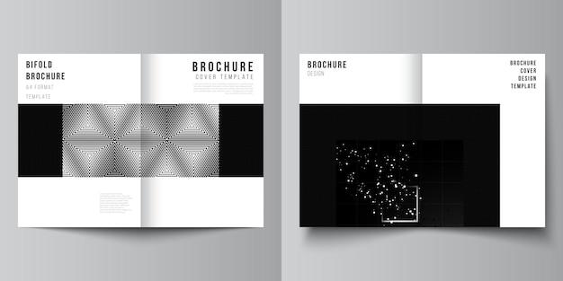 2つ折りパンフレットチラシカバーデザインブックデザインブラックカラー技術背景科学医学技術コンセプトのデジタル視覚化のための2つのカバーモックアップデザインテンプレートのベクトルレイアウト