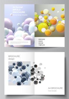 이중 책자 전단지 잡지 표지 디자인 책 디자인 책자 표지에 대한 두 개의 표지 모형 템플릿의 벡터 레이아웃은 여러 가지 빛깔의 d 구체 거품 공이 있는 현실적인 벡터 배경을 커버합니다.