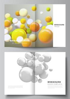 2つ折りパンフレットチラシマガジンカバーデザインブックデザインパンフレットカバーの2つのカバーモックアップテンプレートのベクトルレイアウト色とりどりのd球バブルボールで現実的なベクトルの背景