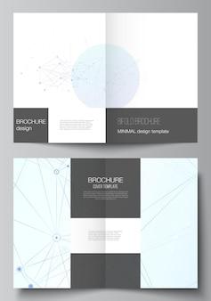 2つ折りパンフレットチラシマガジンカバーデザインブックデザインパンフレットカバーの2つのフォーマットカバーモックアップテンプレートのベクトルレイアウト接続線とドット神経叢を持つ青い医療背景
