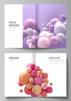 二つ折りパンフレット、チラシ、雑誌、表紙デザイン、ブックデザインの2つのa4カバーモックアップテンプレートのベクトルレイアウト。カラフルな3d球、光沢のある泡、ボールと抽象的なベクトルの未来的な背景。