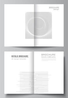 二つ折りパンフレット、チラシ、表紙デザイン、ブックデザインの2つのa4カバーモックアップテンプレートのベクトルレイアウト。抽象技術ブラックカラー科学の背景。デジタルデータ。ミニマリストのハイテクコンセプト。