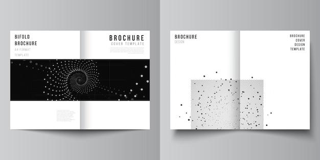이중 브로셔, 전단지, 표지 디자인, 책 디자인을 위한 두 개의 a4 표지 모형 템플릿의 벡터 레이아웃입니다. 추상적인 기술 검은 색 과학 배경입니다. 디지털 데이터. 미니멀리스트 하이테크 컨셉입니다.