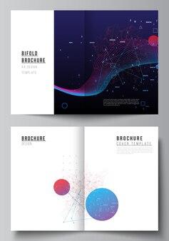 이중 브로셔, 전단지, 잡지, 표지 디자인, 책 디자인을 위한 두 개의 a4 표지 모형 템플릿의 벡터 레이아웃입니다. 인공 지능, 빅 데이터 시각화. 양자 컴퓨터 기술 개념입니다.