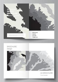 2つ折りパンフレット、チラシ、カバーデザイン、ブックデザイン、パンフレットカバーの2つのa4形式のカバーモックアップデザインテンプレートのベクトルレイアウト。風景の背景の装飾、ハーフトーンパターンのグランジテクスチャ。