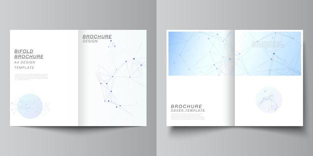 二つ折りパンフレット、チラシ、雑誌、表紙デザイン、ブックデザイン、パンフレットカバー用の2つのa4形式のカバーモックアップテンプレートのベクトルレイアウト。線と点、神経叢を接続する青い医学的背景。