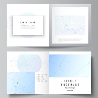 정사각형 이중 책자, 전단지, 잡지, 표지 디자인, 책 디자인, 브로셔 표지에 대한 두 개의 표지 템플릿의 벡터 레이아웃입니다. 연결 선과 점, 신경총이 있는 파란색 의료 배경.